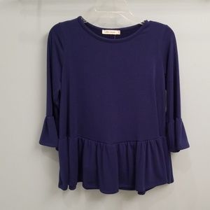 Chloe & Katie Blue 3/4 Length Sleeve Peplum Top-M